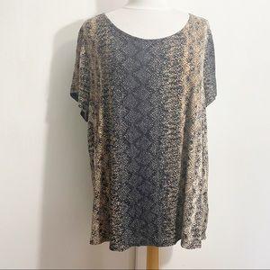 SIMPLY EMMA soft slinky knit snake print top 2X